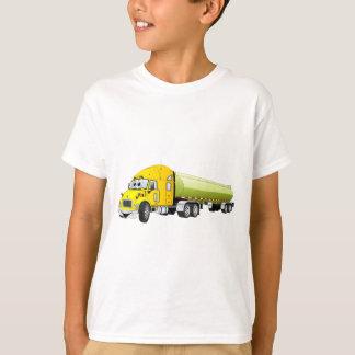 Semi Truck Yellow Green Tanker Trailer Cartoon T-Shirt