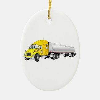 Semi Truck Yellow Silver Tanker Trailer Cartoon Ceramic Ornament