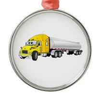Semi Truck Yellow Silver Tanker Trailer Cartoon Metal Ornament