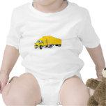 Semi Truck Yellow Trailer Cartoon Baby Bodysuits