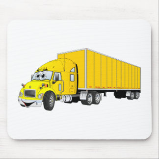 Semi Truck Yellow Trailer Cartoon Mouse Pad