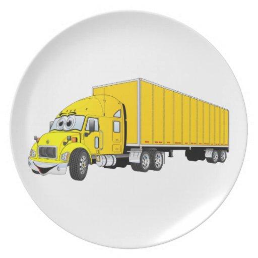 Semi Truck Yellow Trailer Cartoon Party Plates
