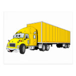 Semi Truck Yellow Trailer Cartoon Post Cards