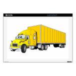 Semi Truck Yellow Trailer Cartoon Skins For Laptops