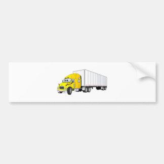 Semi Truck Yellow White Trailer Cartoon Bumper Sticker