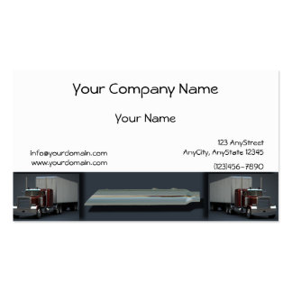 Semi Trucks on Steel Colored Border Business Card