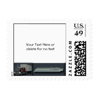 Semi Trucks on Steel Colored Border Postage Stamps