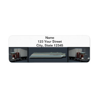 Semi Trucks on Steel Colored Label