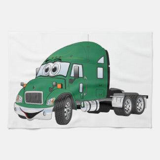 Semi verde del taxi del camión toallas