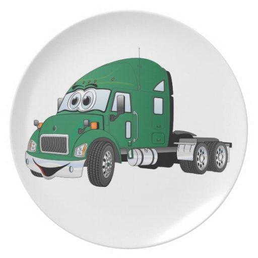 Semi verde del taxi del camión plato