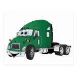 Semi verde del taxi del camión postal
