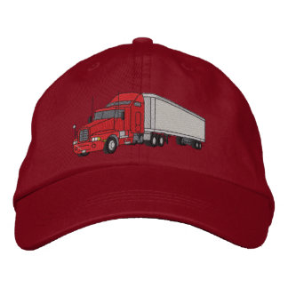 Semi with trailer embroidered baseball cap