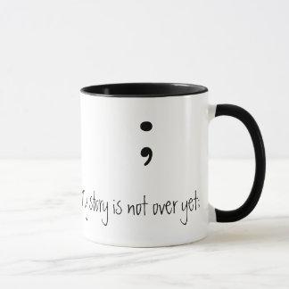 Semicolon  (B&W)- (My story is not over yet;) Mug