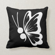 Semicolon Butterfly Throw Pillow