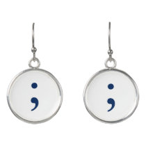 Semicolon - Dark Blue Earrings
