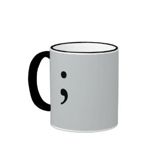 Semicolon (Gray) Ringer Coffee Mug