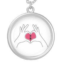 Semicolon Heart Pendant Necklace