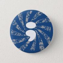 Semicolon on grunge rays button