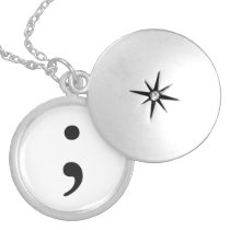 Semicolon Silver Plated Necklace