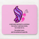 Semicolon Suicide/Depression Awareness Butterfly Mouse Pad