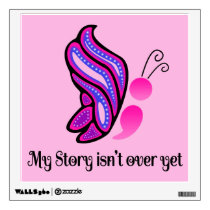 Semicolon Suicide/Depression Story Butterfly Wall Decal