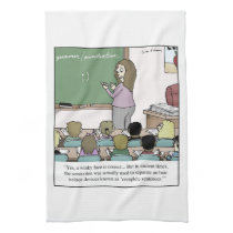 "Semicolon ""Winky Face"" Teacher Cartoon Hand Towel"