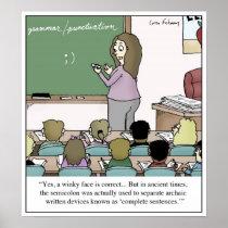 "Semicolon ""Winky Face"" Teacher Cartoon Poster"