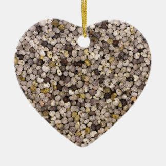Semilla de amapola adorno navideño de cerámica en forma de corazón