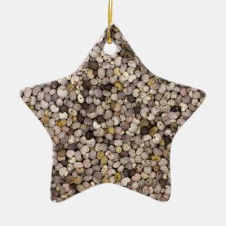 Semilla de amapola adorno navideño de cerámica en forma de estrella
