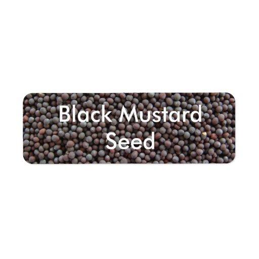 Semilla de la mostaza negra etiqueta de remite