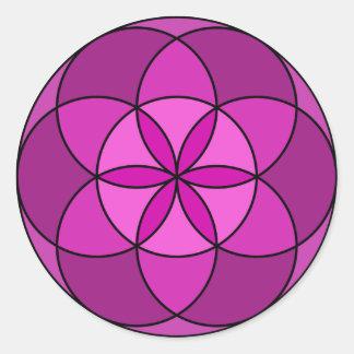 Semilla de la violeta multi de la vida pegatina redonda