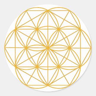 Semilla del oro de la vida pegatina redonda