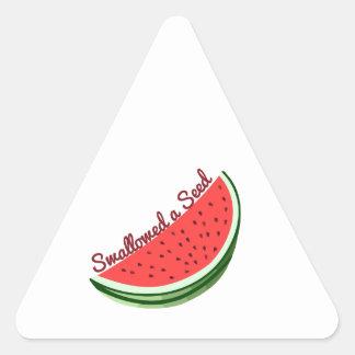 Semilla tragada pegatinas de triangulo