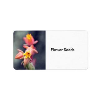 Semillas de flor etiquetas de dirección