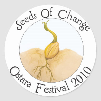 Semillas del logotipo del cambio pegatina redonda