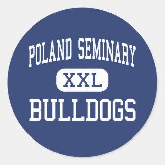 Seminario de Polonia - dogos - alto - Youngstown Etiqueta Redonda