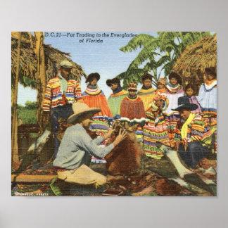 Seminole Indians, Fur Trading, Everglades Vintage Poster