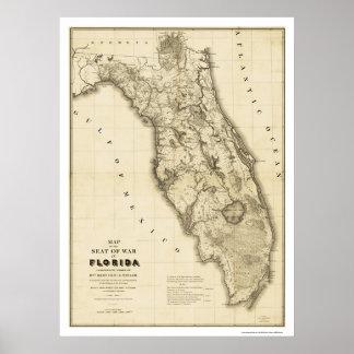 Seminole War Florida Map 1839 Poster