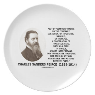 Semiosis Three Subjects Sign Object Peirce Quote Dinner Plate