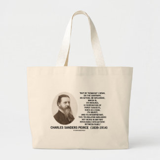Semiosis Three Subjects Sign Object Peirce Quote Large Tote Bag