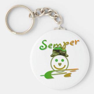 Semper Fi Basic Round Button Keychain