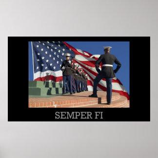 Semper Fi - Pelotón y bandera del rifle Posters