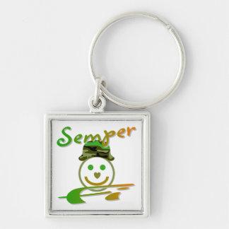 Semper Fi Silver-Colored Square Keychain