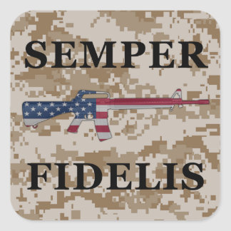 Semper Fidelis M16 Sticker Tan