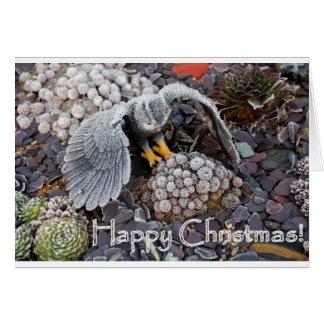 Sempervivum and Owl Christmas card