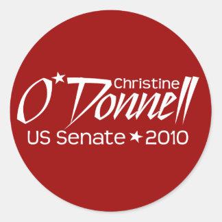 Senado 2010 de Christine O'Donnell - Delaware Pegatina Redonda