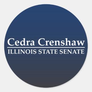 Senado del estado de Cedra Crenshaw Illinois Etiqueta Redonda