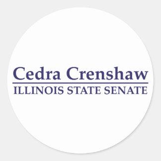 Senado del estado de Cedra Crenshaw Illinois Etiquetas Redondas