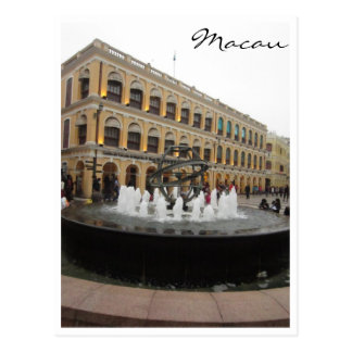senado square fountain postcard