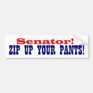 ¡Senador ¡Relampague para arriba sus pantalones Etiqueta De Parachoque